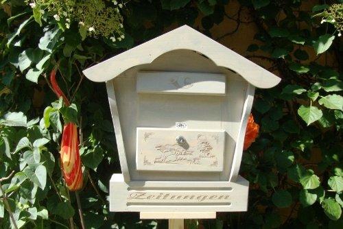 Briefkasten, Holzbriefkasten mit Holz - Deko HBK-SD-HELLGRAU aus Holz hellgrau weiss weiß - grau Lasur Briefkästen Postkasten Spitzdach