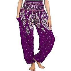 Lofbaz Mujer Pantalones Harem Boho de Cintura alforzada Floral 1 Morado S