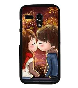 Fuson Premium 2D Back Case Cover Cute lovers With Brown Background Degined For Motorola Moto G X1032::Motorola Moto G (1st Gen)
