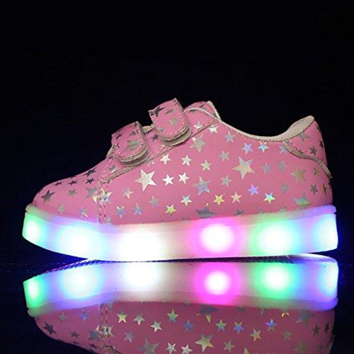 SAGUARO® Kinder Leuchtschuhe Blinkschuhe Bunte LED Licht Farbwechsel Sneaker Sportschuhe Luminous Flashing Turnschuhe Light Up Klettverschluss Schuhe Rosa