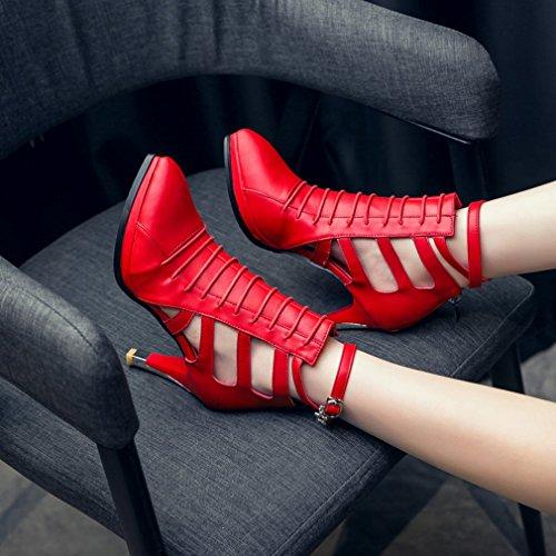 YE Damen Spitz Ankle Strap Stiletto High Heel Pumps mit 8cm Absatz und Reißverschluss Schuhe Rot