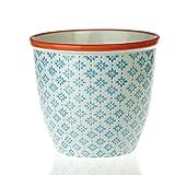 Gemusterter Pflanzentopf. Porzellan Innen-/Außen Blumentopf - Design Blau/Orange x1