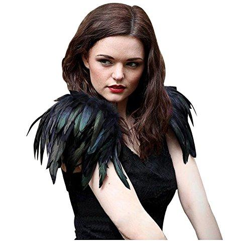 Engel Flügel Schwarz Kostüm - keland natürliche echte Feder Epaulet Shrug Schultergurt schillernden ein Paar (Schwarz)
