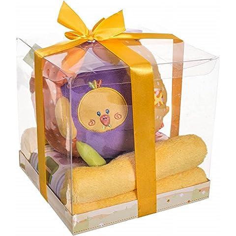 Bieco 38107215 - Kit de regalo de manta y sonajero (75 x 75cm aprox., con diseño de pato)