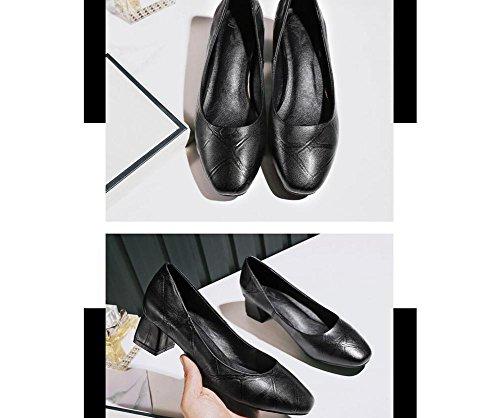 Beauqueen Pumps Fashion Lattice Mary Janes Square-Toe Chunky Ferse Elegante Arbeit Schuhe EU Größe 34-39 Black