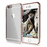 iPhone 6 6S Hülle Handyhülle von NALIA, Durchsichtiges Slim Silikon Case Transparente Rückseite & Strass-Bumper, Crystal Schutzhülle Cover Etui Dünn Backcover für Apple iPhone 6S 6, Farbe:Rose Gold