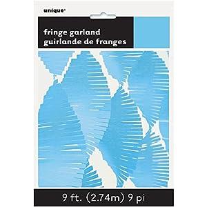 Unique Party- Guirnalda de flecos de papel de seda, Color azul claro, 274 cm (63638)
