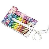 Cikuso organisateur de crayon en rouleau multifonctionnel de 72 fentes de voyage de dessin coloriage pour l'artiste, etui de crayons pour 72 crayons de couleur feuille d'erable