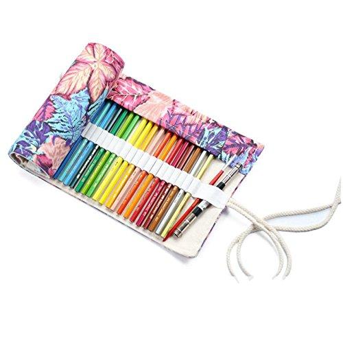 Cikuso multiuso 72 slot viaggio disegno colorazione matita rotolo organizzatore per artista, matite custodia custodia per 72 matite colorate foglia d'acero