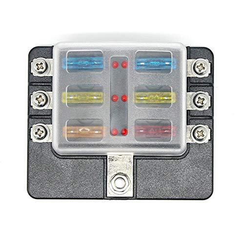 Everpert Boîte à fusibles 6 voies avec indicateur LED pour fusible soufflé, porte-fusible avec kit d'indicateurs pour 12 V 24 V Voiture Marine [100 Amp]