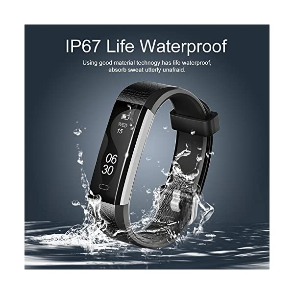 COOLEAD Fitness Tracker Pulsera Inteligente IP67 Waterproof Bluetooth Pulsera inteligente -Correa Libre 2