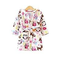 JZLPIN Unisex Baby Hooded Bathrobe Kids Flannel Pajamas Dressing Gown for Boys Girls Owl 120CM(3-4 Years)