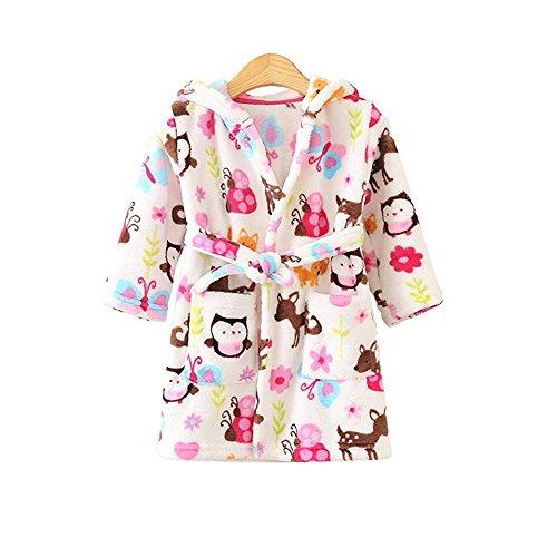(JZLPIN Unisex Baby mit Kapuze Bademantel Kinder Flanell Pyjama Morgenmantel Zum Jungen Mädchen Eule 100CM(1-2 Jahre))