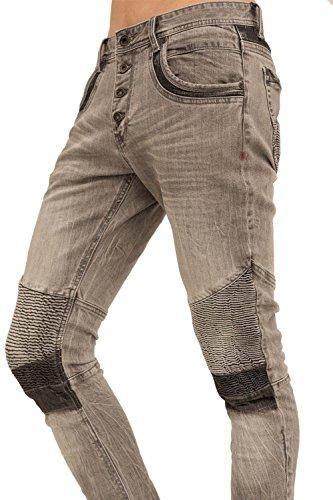 trueprodigy Casual Herren Marken Jeanshose mit Stretch Hose cool und stylisch Denim vintage (destroyed & Slim Fit) Jeans für Männer, Farben:Graumelange, Größe:W29 L34