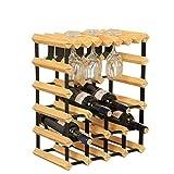 Massivholz-Wein-Gestell-Verzierungs-hängender Becher-Halter-Haushalts-Wein-Flaschen-europäische Art (Farbe : Holzfarbe)