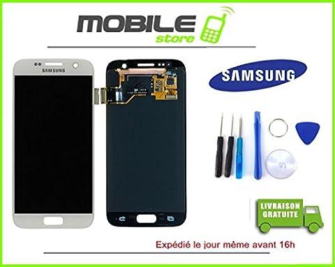 VITRE TACTILE + ECRAN LCD ORIGINAL SAMSUNG S7 ET G930F BLANC + OUTILS