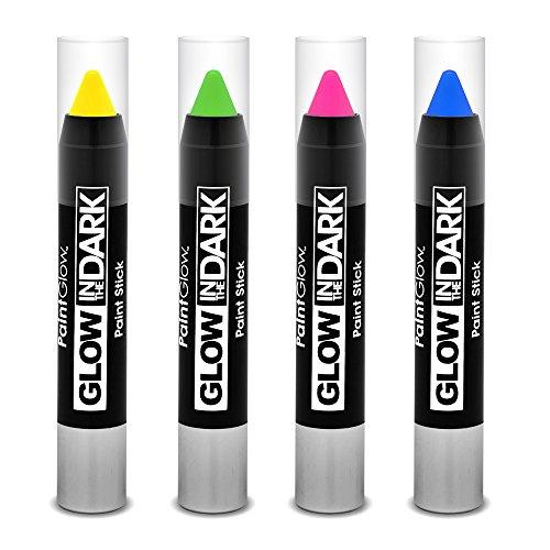 PaintGlow cara pintura brilla en la oscuridad pintura Sticks, juego de 4color rosa amarillo verde azul 4X 3G