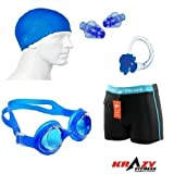 #2: Krazy Swimming Kit (Silicon Ear Plug,Swimming Cap ,Swimming Nose Clip, Swimming Goggles With Authentic Men Adult Swim Trunks Boxer Nylon)