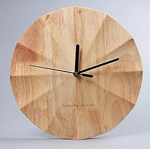 ZHDC® Orologio di legno solido muro, Soggiorno grande rotonda orologi moderni creativo e orologi muto Camera Clock 12 pollici Home wall clock ( Colore : #2 )