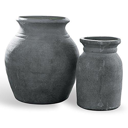 Loberon Vase 2er Set Molduc, Terrakotta, H/B/T/Ø ca. 23/20,5/20,5/20,5 cm, antikbraun