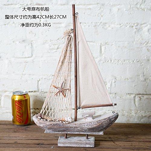 SQBJ Nordic mediterrane Dekoration Holz Segelboot Wohnungseinrichtung kreativ Modell echten weichen Dekoration retro Möbel, Tuba