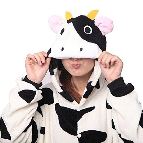 Arkind Unisexe Animaux Pyjama adulte Combinaison Nuit pour Enfant Halloween Cosplay Costume Pyjama Cadeau Anniverssaire Noël vache à lait