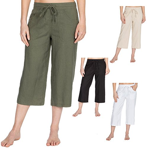 Metzuyan Ladies Linen Blend Beach Spring Summer Cropped Trousers Holiday 3/4 Length Crops Capri Various Colours