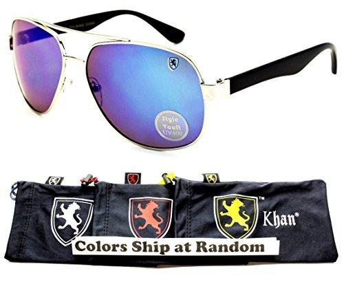 A181-kp Khan Turbo Sporty Aviator Sunglasses (P3033C Silver/Black-Blue Mirror