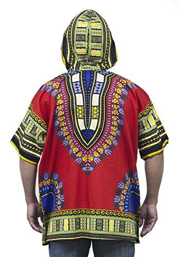Lofbaz Unisex Dashiki Traditionelles Oberteil mit afrikanischem Druck Design #1 Rot