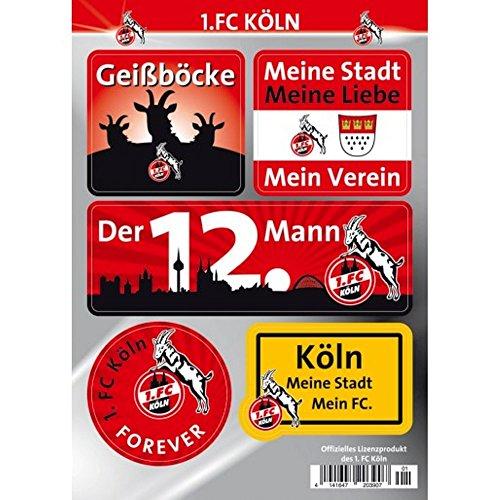 "Preisvergleich Produktbild 1. FC Köln Autoaufkleber - Sticker - Aufkleber Set 5 Stück ""Hennes"""