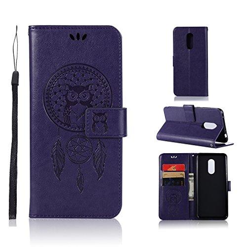 BCIT Xiaomi Redmi 5 Plus Funda - [Patrón de búho] Carcasa Libro de Cuero Con Tapa y Cartera, Carcasa PU Leather Con TPU Silicona Case Interna Suave para Xiaomi Redmi 5 Plus - Púrpura