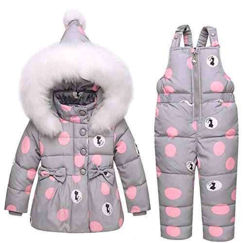SANMIO Kinder Schneeanzug 2tlg Mädchen Jungen Daunenjacke mit Kaputze und Daunenhose Bekleidungsset