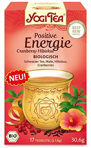Yogi Tee Positive Energie Cranberry Hibiskus, 17 Teebeutel, 30,6 g (Grüner Tee Kräuter-energie)