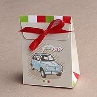 """Ballotins à dragées - boites à dragées forme Pochon thème Italie """"Dolce Vita"""" voiture italienne x10 mariage baptême communion anniversaire"""