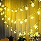 40er LED Schneeflocken Lichterkette Weihnachtsbeleuchtung Stimmungsbeleuchtung Batteriebetrieben Warmweiß Innen Beleuchtung Deko für Weihnachtsfeier Garten, Wohnungen, Hochzeit 5 m