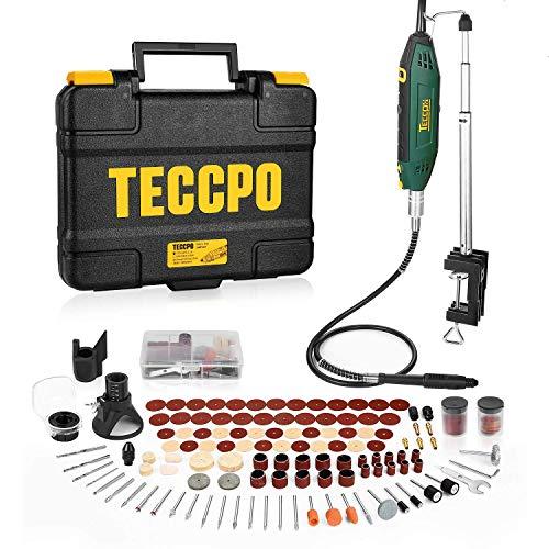 Multifunktionswerkzeug, TECCPO 200W Drehwerkzeug mit Teleskoparm und Tischklemme, mit 120 Zubehör, Mini-Bohrer mit 5+Max Variablen Drehzahlen, Ideal für DIY Kreationen-TART13P