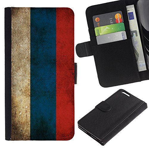 """Graphic4You Vintage Uralt Flagge Von Italien Design Brieftasche Leder Hülle Case Schutzhülle für Apple iPhone 6 Plus / 6S Plus (5.5"""") Russland Russisch"""
