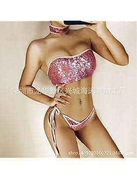 TIANLU Bikini Sexy conjuntos bañador de adelgazamiento tendencias trajes de baño verano brillante, Rosa,M