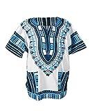 Lofbaz Unisex Dashiki Stampa Tradizionale Africana Hippy Boho M White And Blue