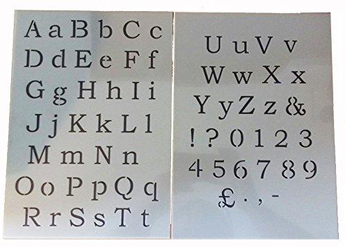 Classic Shabby Chic Schriftart Zahlen + Buchstaben Alphabet Gemälde Schablone oberen + unteren Fall -
