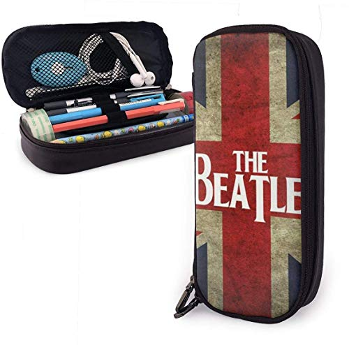 Union Jack Leather Pencil Case Pouch Zippered Pen Box School Supply for Students,Big Capacity Stationery 3D Nanotechnology Printed Box for Girls Boys and Adults