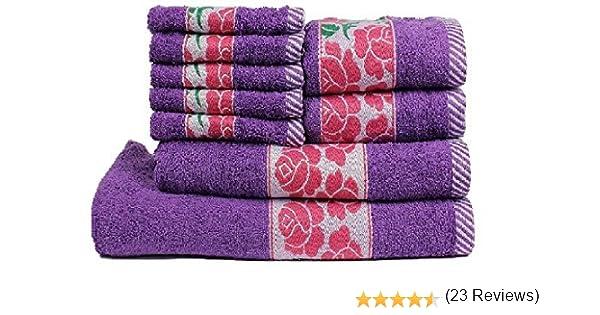TRIDENT Premium Cotton Collection Floral Lot de 9 serviettes de toilette Violet 425 g//m/²