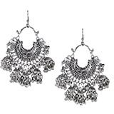 #9: Shining Jewel 925 Antique Silver Oxidised Afghani Chandbali Earrings (SJ_988)