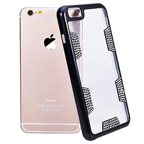 GrandEver iPhone 6 / iPhone 6S Glitzer Hülle Hart PC Rahmen TPU Silikon Schutzhülle mit Bling Glänzend Diamanten Dual-Layer Hybrid Protective Case Bumper Handytasche - Schwarz Schwarz