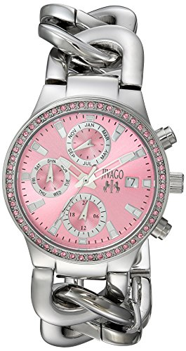 JIVAGO WOMEN'S 33MM STEEL BRACELET & CASE SWISS QUARTZ PINK DIAL WATCH JV1248