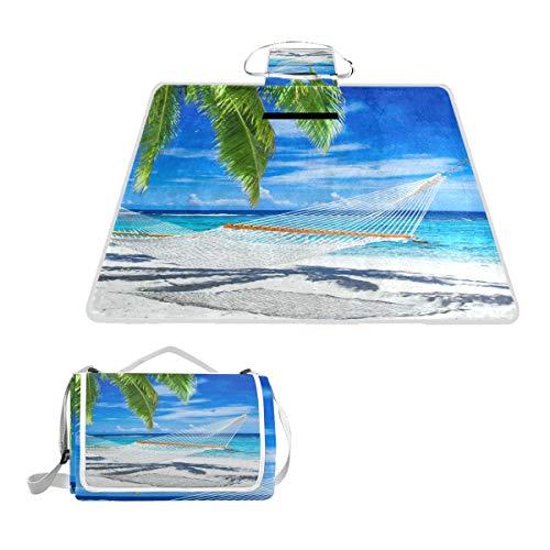BALII Bali Picknick-Decke mit Palmen auf tropischem Strand, wasserdichte Rückseite, für Outdoor Strand, Camping -
