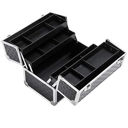 Yaheetech Beauty Case Alu Kosmetikkoffer Transportkoffer Etagenkoffer für Gepäck/Werkzeug/Angelzubehör Schwarz