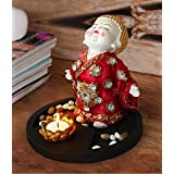 TiedRibbons® Buddha Monk Handicraft Idol Statue Decorative Showpiece Figurine With Tealight And Stones On Wooden Tray | Diwali Gifts For Office | Diwali Home Decoration | Diwali Gifts For Office