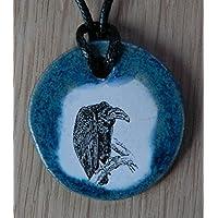 Echtes Kunsthandwerk: Hübscher Keramik Anhänger mit einem Geier; Raubvogel, Pleitegeier