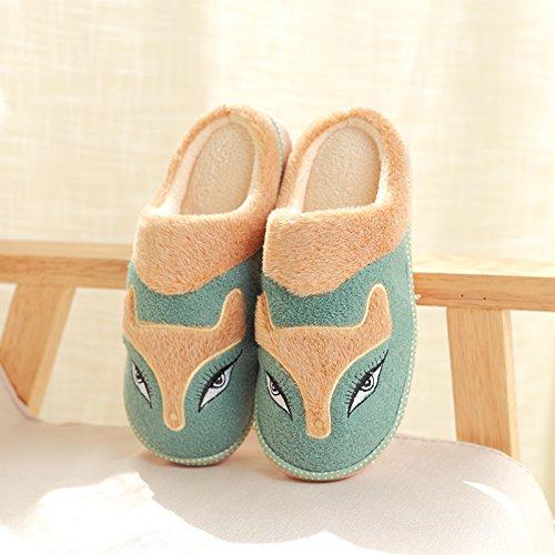 DogHaccd pantofole,Inverno pantofole metà femmina con thick Cartoon carino coppie home anti-slip caldo cotone pantofole Il verde1